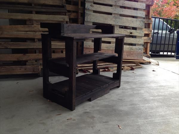 Recycled Pallet Entry Bench - Storage Rack   Pallet Furniture Plans
