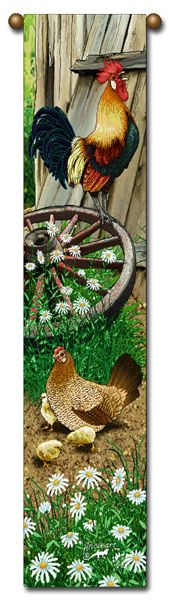 rooster hen and chicks wagon wheel