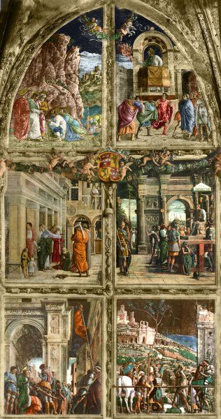 Andrea Mantegna painted the fresco during the 15th century at the the Eremitani Church in Padua, a city in northern Italy. But it was destroyed by a bombing raid in 1944. Its virtual reconstruction can be seen in this image.