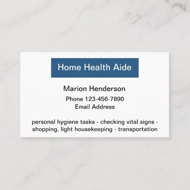 Medical Home Health Aide Business Card Zazzle Com Home Health Aide Home Health Business Card Template Design