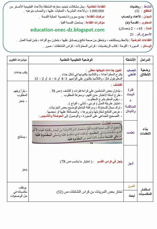 مدونة التعليم و التربية مذكرات درس القسمة 4 في الرياضيات للسنة الرابعة ابت Education Activities For Kids Activities