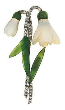 Snowdrop brooch: white chalcedony, jade, and diamonds.