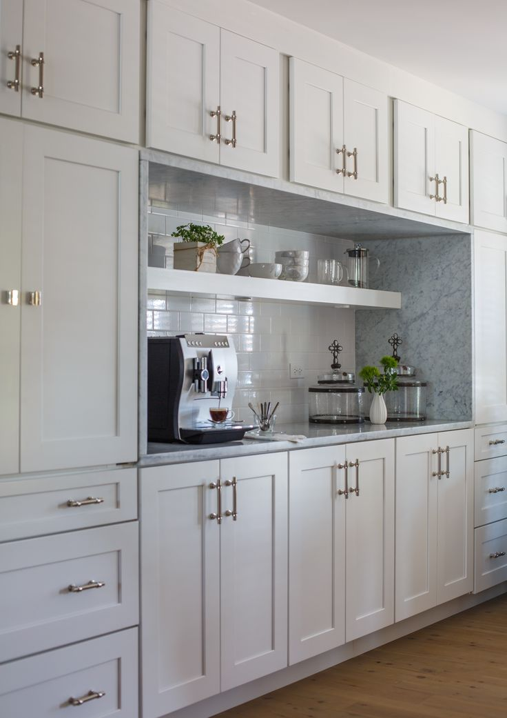 we love the way this clean white cabinetry contrasts the look of the silver stone slab stone slabkitchen decorkitchen - Stone Slab Kitchen Decor