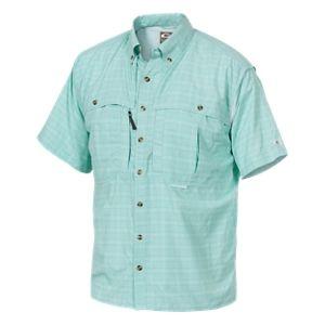 Drake Waterfowl Wingshooter's Plaid UPF50 Short-Sleeve Sun Shirt for Men - Aqua - 3XL