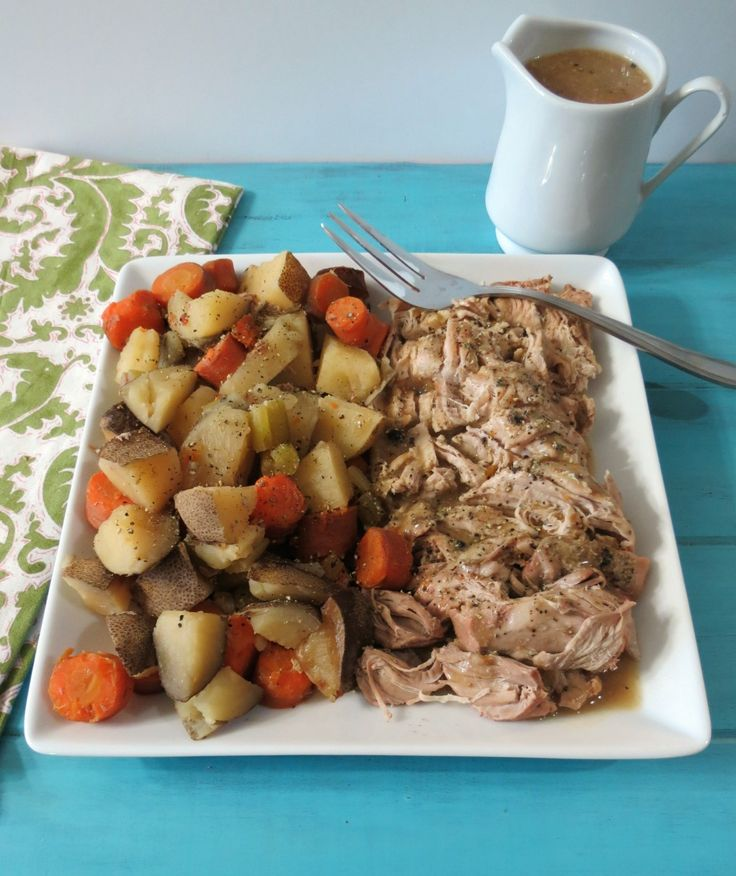 Italian Pork Tenderloin and Potatoes in Crockpot - A healthy, simple slow cooked meal made with pork tenderloin, potatoes, carrots and flavored with Italian Seasoning.