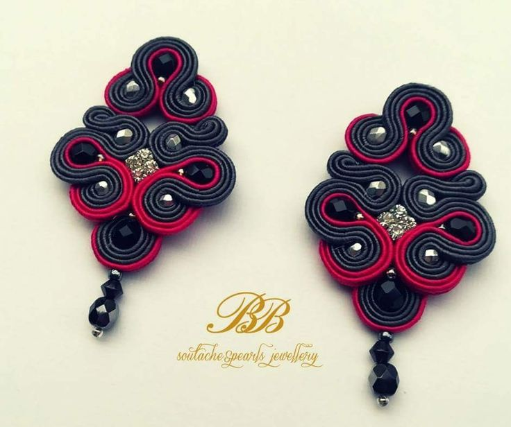 Long, elegant soutache earrings, grey and pink braids, black fire polish beads.