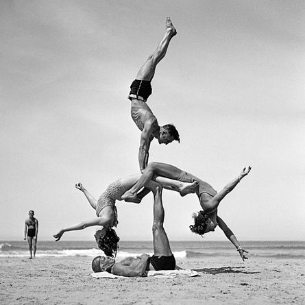 Alf Stanbrough supports Bonnie Nixon and Hazel with Wal Balmus hand-balancing on top (25 September 1938) by George Caddy