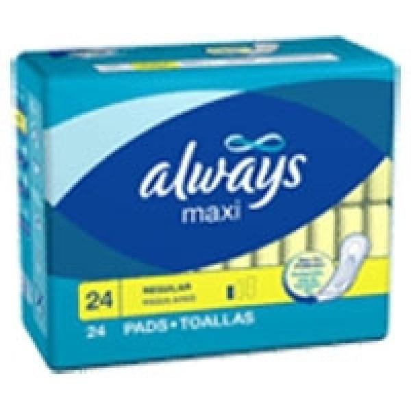 Always maxi pads regular (66381) - 24 pads / pack, 12 packs