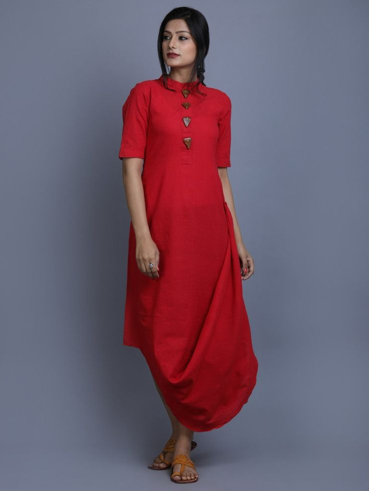 Red Cotton Linen Drape Dress