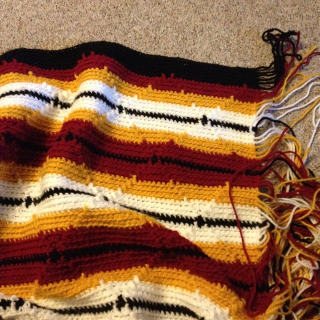 Crochet Navajo Stitch : Working on a Minnesota Gophers afghan. 145 stitches navajo pattern