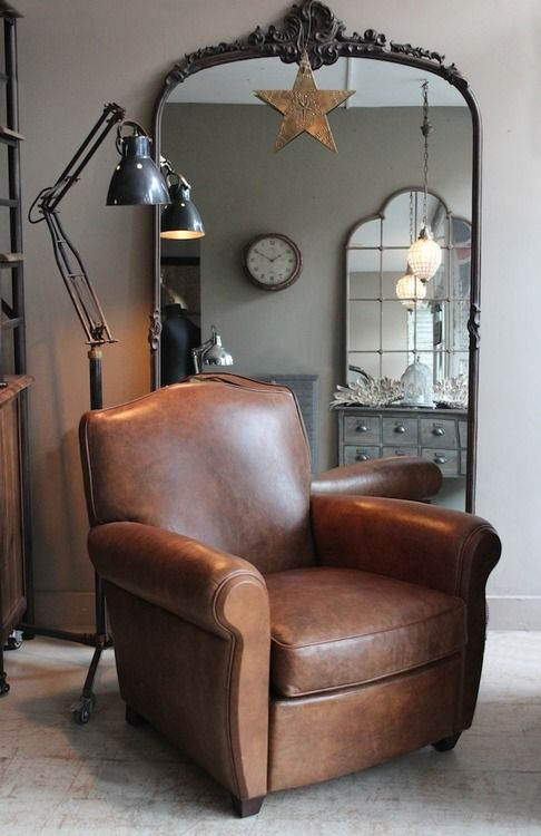 Leather club chair. http://discoverattic.com (attic.©2013)