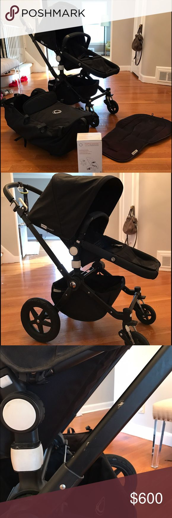 Black on black Bugaboo Cameleon 3 GREAT CONDITION!  Black on black Bugaboo Cameleon 3 for sale. Bundle includes: - frame - seat w/canopy - bassinet (fits on same frame as seat) - seat liner  - snack tray  Seat is in GREAT condition. Always used with seat liner so no stains or tears. Some wear on frame but fairly minimal (see photo). Canopy also in perfect condition as used mostly with breezy sun canopy.   Hate to say good-bye to this great stroller but kids have outgrown. Hoping someone…