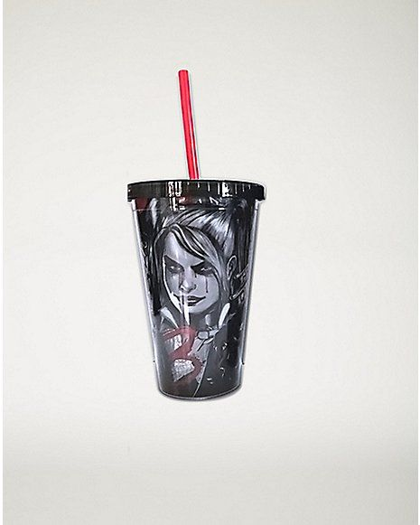 Tears Arkham Harley Quinn DC Comics Cup With Straw 16 oz - Spencer's