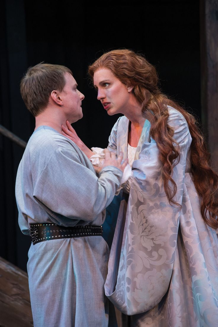 "Steve Wojtas as Hotspur and Erika Haaland as Lady Percy in Utah Shakespeare Festival's 2014 production of ""Henry IV Part One."" (Photo by Karl Hugh. Copyright 2014 Utah Shakespeare Festival.) www.bard.org"