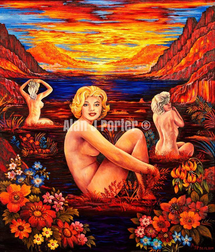 #love #alanjporterart #kompas #art #marilyn #monroe #normajean #painting #sunset #flowers #river #beautifulcolors #originaldesign