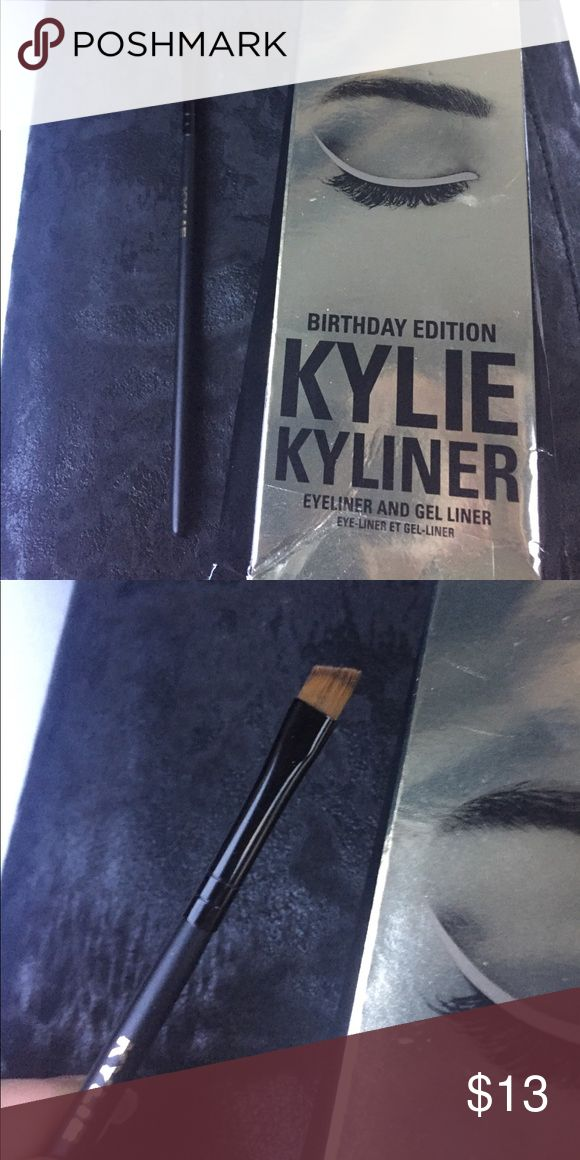 Kylie cosmetics birthday edition angled eye brush Birthday edition angled eye liner brush. Will be washed before ship. Please note, there is no eye liner cream or pencil included. You are only getting the brush Kylie Cosmetics Makeup Brushes & Tools