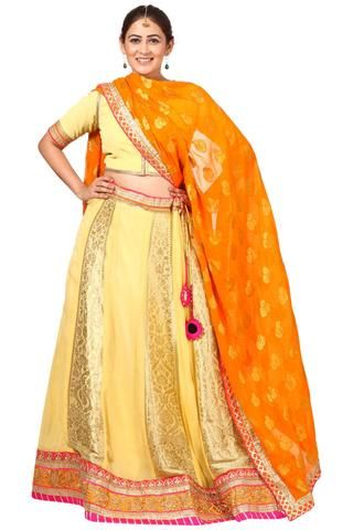 71a918217d1ae4 Yellow Banarsi Lehenga Choli with Orange Georgette Dupatta | What am ...