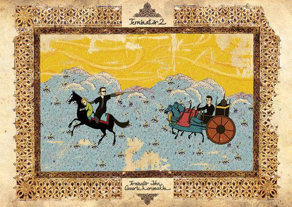 Terminator II -  Classic Movies in Ottoman Miniature Style by Murat Palta: Film, Movie Posters, Classic Movie, Movie Scene, Oriental Style, Illustration, Ottomans Empire, Painting, Murat Palta