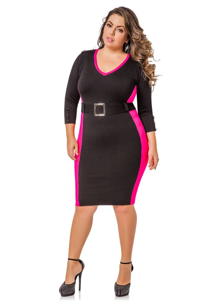 Colorblock Belted Sweater Dress - Ashley Stewart