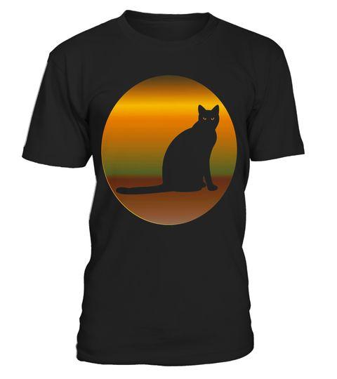 Lucky Black Sitting Cat Vintage Art Cat Lover T Shirt