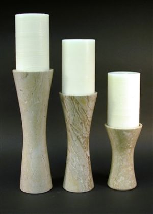 3 Pieces Shara Beige Marble Candle Holder Set | CS825SB. Set of three contemporary Candle Holders 8,12 & 15 inches tall. Candles shown are not included.