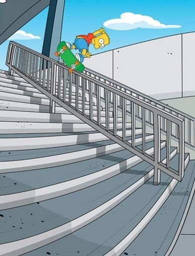 Bart Simpson - Bs Nosebluntslide (?) Skateboarding at Wilshire Rail