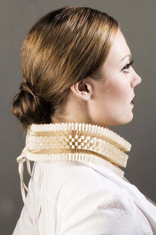 paper wearables by jewellery designer Sarah Louise Kelly of Saloukee designs.