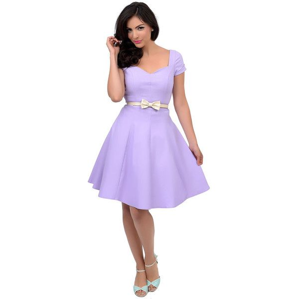 Unique Vintage Lilac Short Sleeve Grace Swing Dress ($88) ❤ liked on Polyvore featuring dresses, light purple, a line dress, lilac cocktail dress, lavender dress, lavender cocktail dress and swing dress