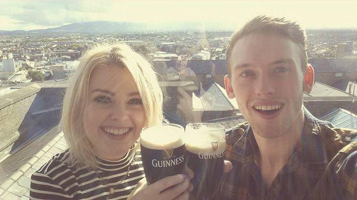 Enjoying pints of Guinness at the Guinness Storehouse