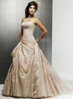 Robe en couleur satin taffeta traine balayée robe de mariée