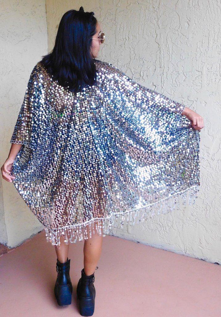 Disco Queen Kimono - Millenium Instagram ~ @ravewithmigente • SHOP ravewithmigente.com • festival fashion ravewear mi Gente clothing burning man sequin kimono disco babe ultra music festival