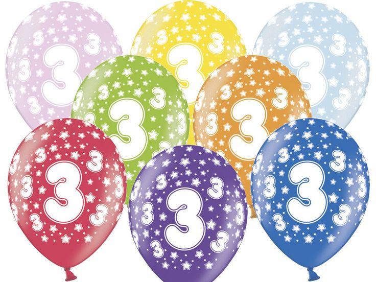 """Balon lateksowy 14"""" (37 cm) z dwustronnym nadrukiem """" Cyfra 3"""". Doskonała dekoracja na przyjęcie urodzinowe."""
