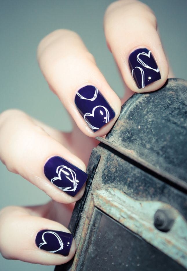"Might be nice for my toes.. hearts on the big one. Navy for the background for my ""something blue"""