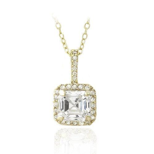 18K Gold over Sterling Silver 2 1/4ct Asscher-Cut CZ Necklace SilverSpeck.com. $14.99. Save 67% Off!