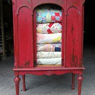 repurposed china cabinet, painted furniture, vintage quilt collection