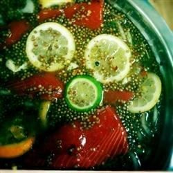 Salmon brine is made with lots of citrus flavor. It is also excellent for trout. This recipe makes enough to brine two large salmon fillets.