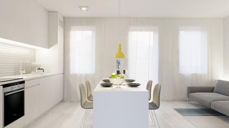 Minimalistyczna jadalnia w bieli. Minimalist white dining room.