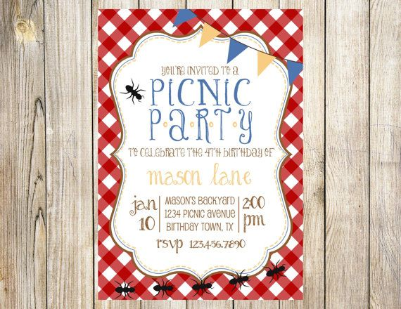 Picnic Birthday Party Invitation by EmmyJosParties on Etsy, $12.00