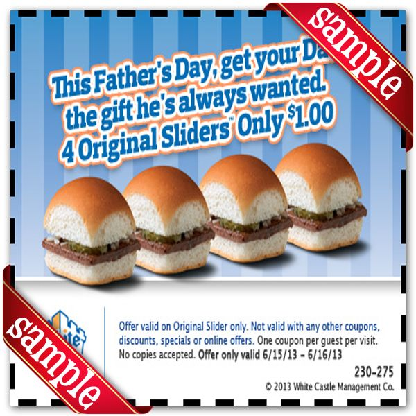 Printable white castle Coupon November December 2015 2016