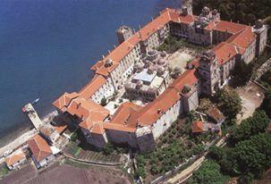 Αεροφωτογραφία της Μονής από νοτιοδυτικά / Aerial view of the monastery from the southwest