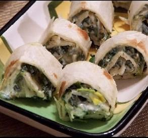 Spinach Dip Pinwheels from Food.com: My favorite spinach dip recipe rolled in
