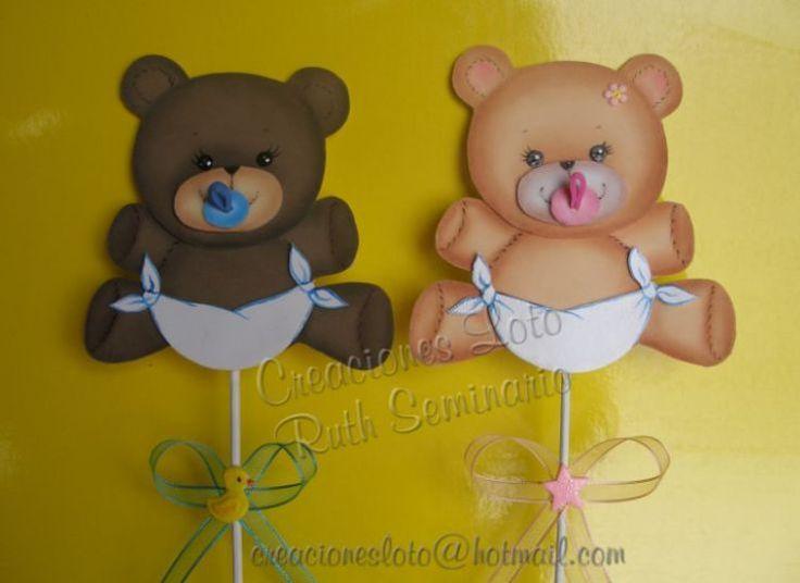 Brochetas Ositos Bebé para Baby Shower o Bautizo