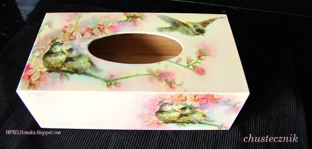 Impresja smaku...: Chustecznik decoupage - handmade (pudełko na chusteczki)