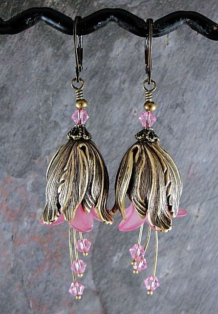 Valentines Day Sale Pink flower earrings pink by thepinkmartini, $20.00