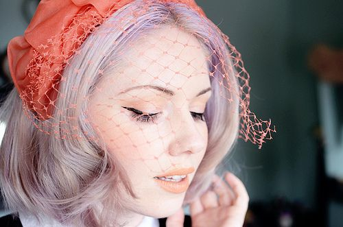 coral veil vintage hat h by night.owl, via Flickr