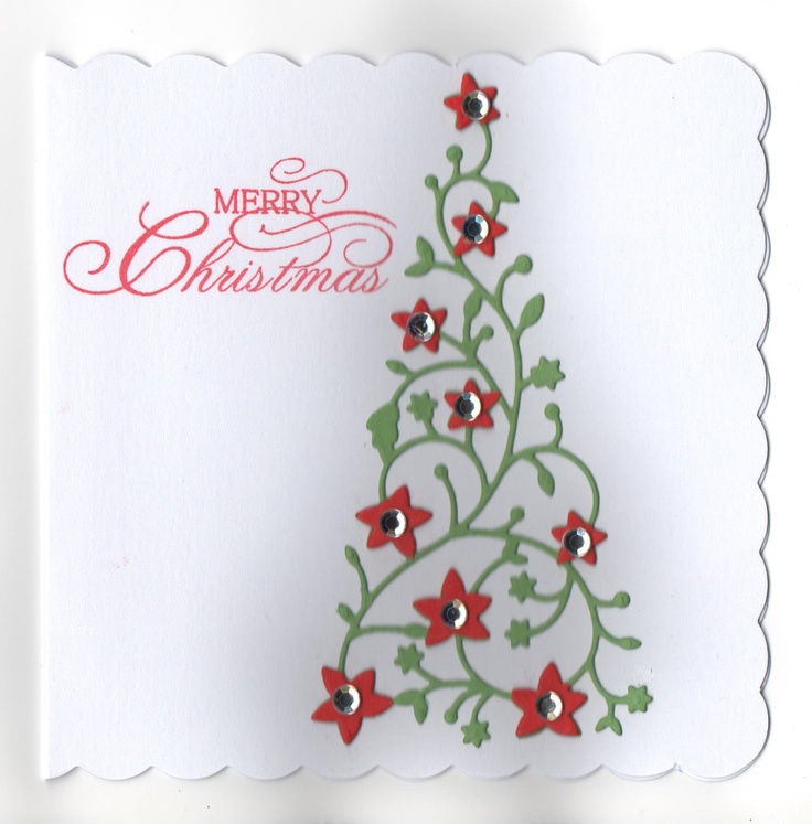 Hand Made Card With Memory Box Flowering Christmas Tree