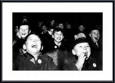 Boys Laugh at Children's Movie Session by Paul Kaye Metal Framed Photographic Print