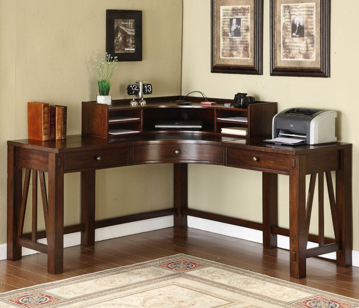 home office desk corner. Riverside Castlewood Corner Desk With Optional Hutch - Make Use Of Every Inch Your Home Office The Richly Finished Desk. E