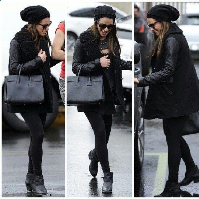 #leamichele #black #beanie #beauty #fashion #style #stylish #lookbook #glee #gorgeous #corymonteith #exboyfriend #beanie #hat #car #ride #stockings #leggins #leatherjacket #coat #boots #boot #bag... - Celebrity Fashion