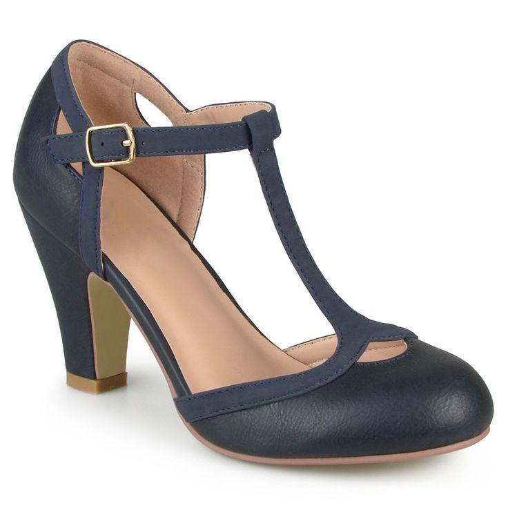 Journee Collection Olina Women's Mary Jane Heels, Size: medium (6.5), Blue (Navy)